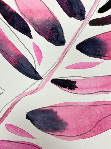 Abstract Pink and Midnight Blue Leaves 34 SMALL