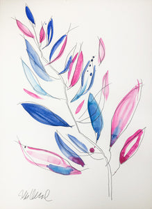 Abstract Fuchsia and Blue Leaves 6 LARGE