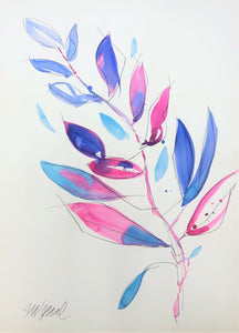 Abstract Fuchsia and Blue Leaves 7 LARGE