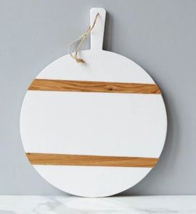 Color Block Round Charcuterie Board - White