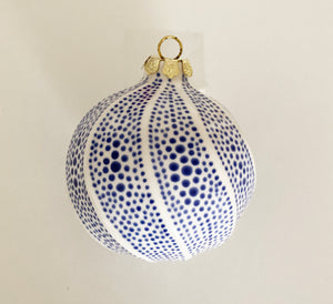 Sugar Plum Large Ornament, White and Blue