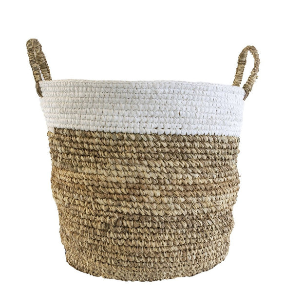 TWO-TONED RAFFIA AND SHOELACE STORAGE BASKET, Large
