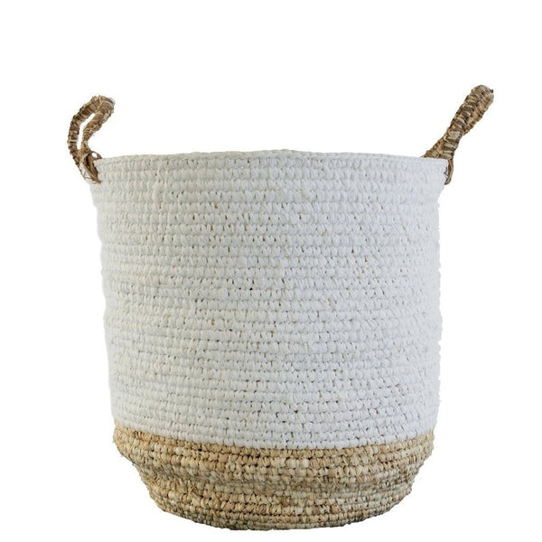 Two-toned Raffia and Shoelace Storage Basket, Medium