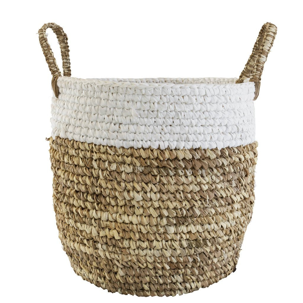 Two-toned Raffia and Shoelace Woven Basket, Small