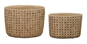 Caned ceramic pots, set of 2