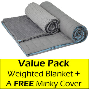 10 lb Weighted Blanket in Grey with Patent Pending Zipper System