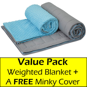 10 lb Weighted Blanket in Aqua Blue with Patent Pending Zipper System