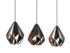 CARLTON 3 LIGHT BLACK and COPPER BAR
