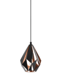 CARLTON 1LIGHT BLACK and COPPER/SMALL