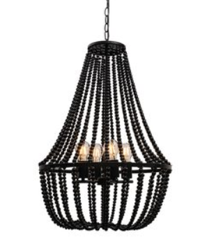 Willow 4Lt Large Black Beaded Pendant w- Matt Black L/Holders- E27