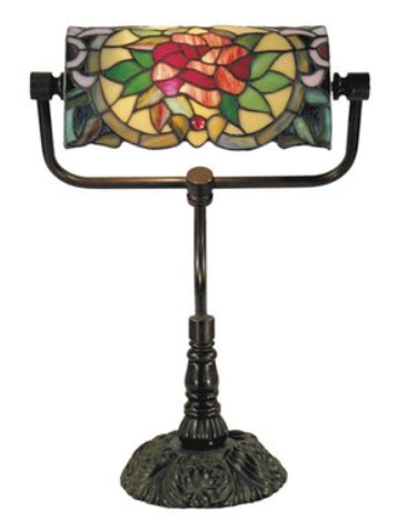 Red Camellia Bankers Lamp