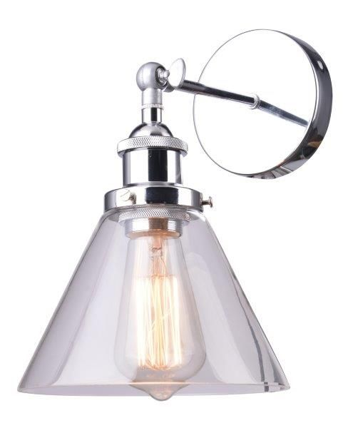 WL1820-CH CHROME/CLR GLASS WALL LIGHT