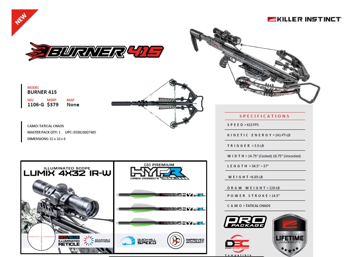 Killer Instinct 1106-G, Burner 415