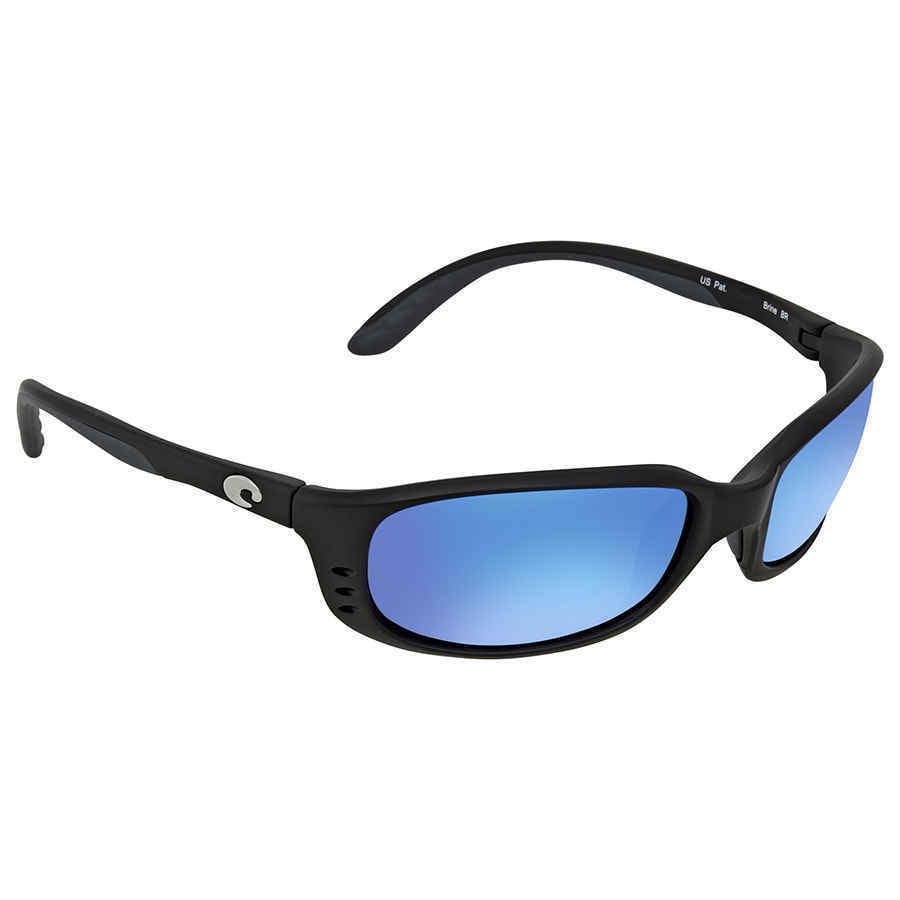 Costa Del Mar BR11OBMGLP, Polarized Brine Black Blue Mirror 580G Sunglasses