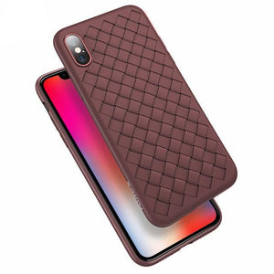 Luxury Silicone Grid Weaving Pattern Phone Case For All iPhone Models