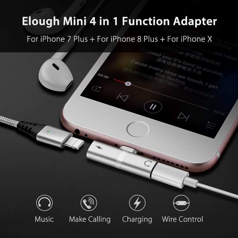 4 in 1 Function Audio Earphone & Charger Adapter For iPhone 7 Plus, iPhone 8 Plus, iPhone X