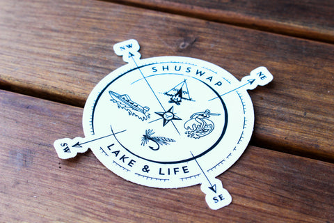 Shuswap Summer Compass Kiss Cut Sticker