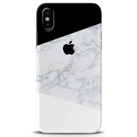 Geometric White Marble Cover Case For iPhone XS