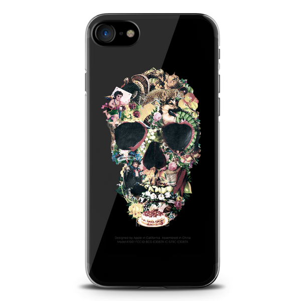 Skull Vintage Clear Case for iPhone 7/8