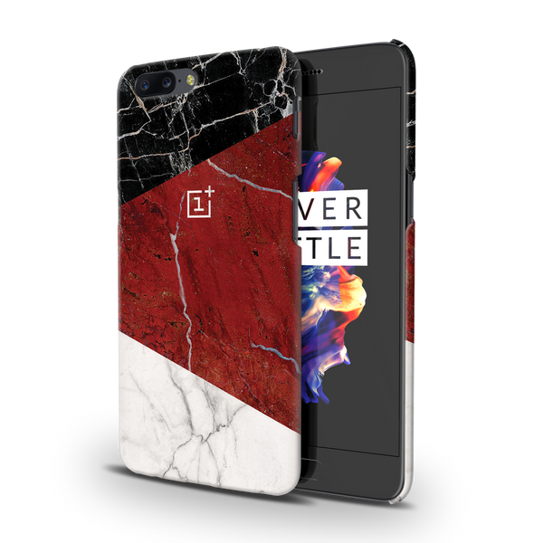 Red Geometric Marble Cover Case For OnePlus 5