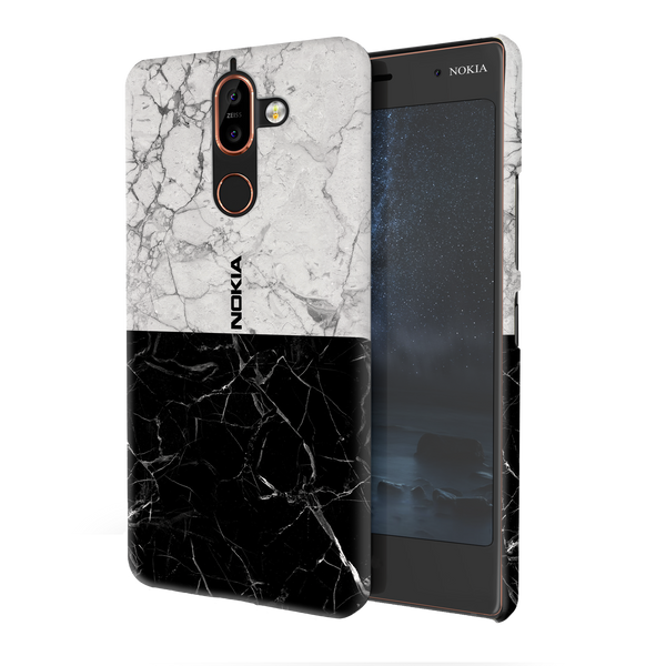 Grey & Black Marble Cover Case For Nokia 7 PLus