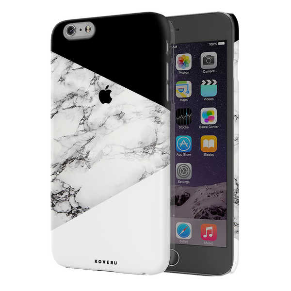 Geometric White Marble Textured Cover Case For iPhone 6/6S Plus