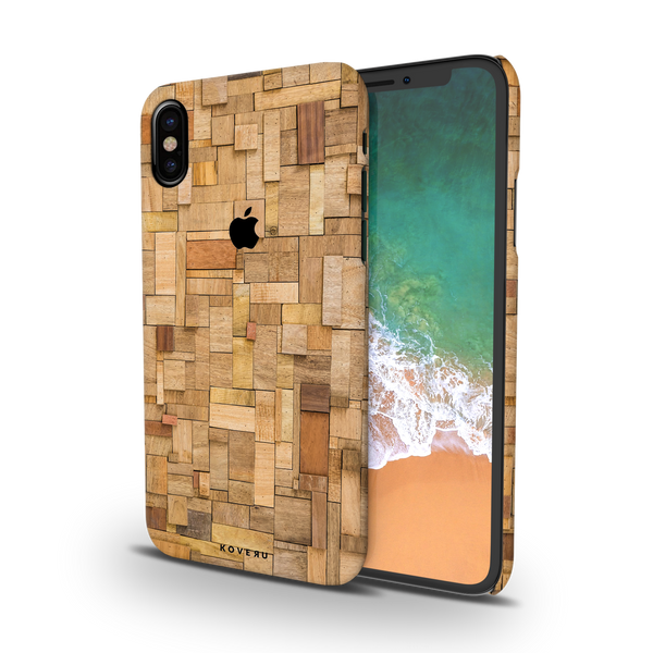 Square Wood Texture Back Cover Case for iPhone X