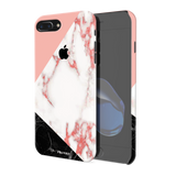Peach Geometric Marble Cover Case For iPhone 7/8 Plus
