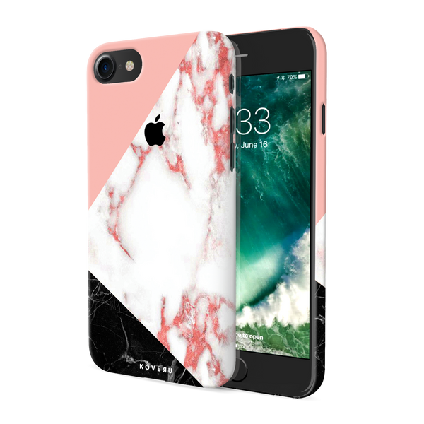 Peach Geometric Marble Cover Case For iPhone 7/8
