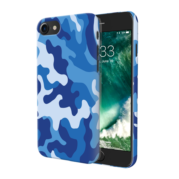 Blue Abstract Camouflage Cover Case For iPhone 7/8