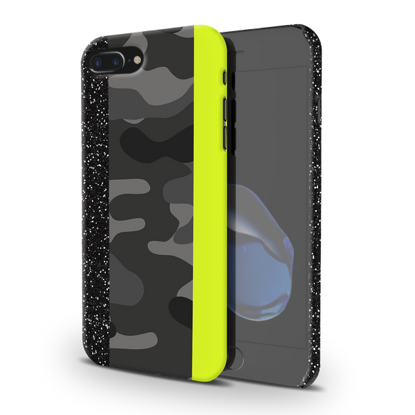 Black Camoflage and Neon Pattern Cover Case for iPhone 7/8 Plus