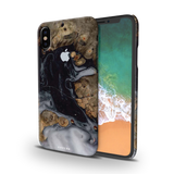 Grey Liquid and Wooden Texture Cover Case for iPhone X