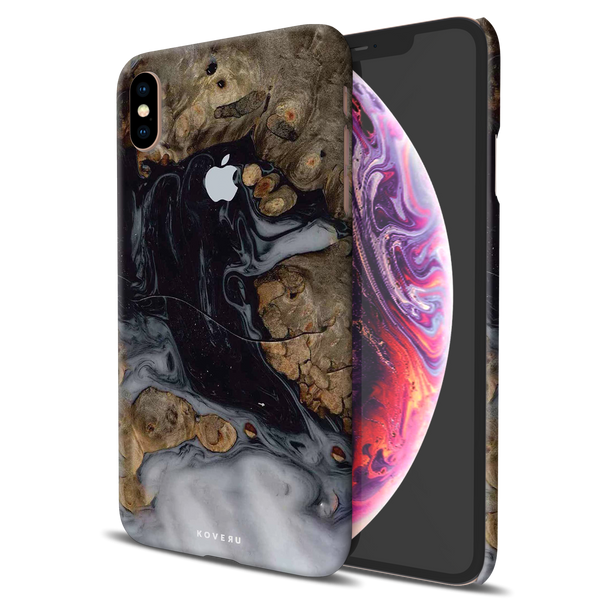 Grey Liquid and Wooden Texture Cover Case for iPhone XS Max