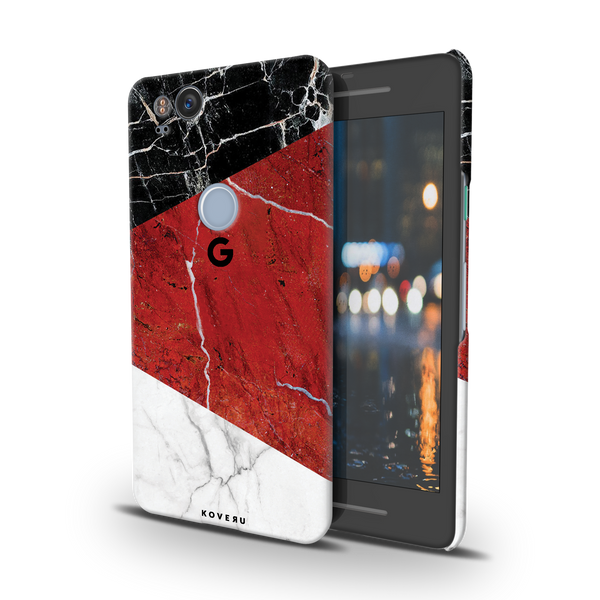 Red Geometric Marble Cover Case For Google Pixel 2