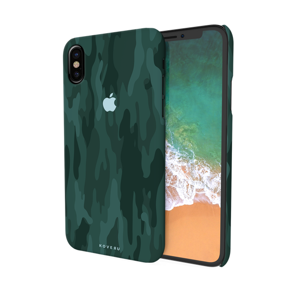 Green Camouflage Design Back Cover Case For iPhone XS