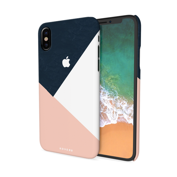Blue Tricolor Pattern Cover Case For iPhone X