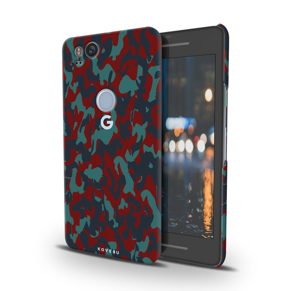 Red Camouflage Cover Case For Google Pixel 2
