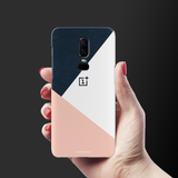 Blue Tricolor Pattern Cover Case For OnePlus 6
