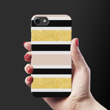 Gold Peach Strips Case Cover for iPhone 7/8