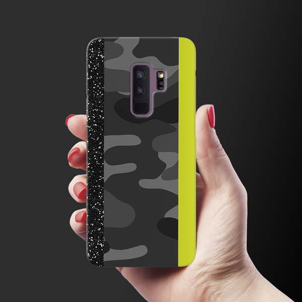 Black Camoflage and Neon Pattern Cover Case for Samsung Galaxy S9 Plus