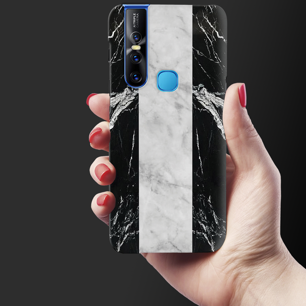 Black and White Holo Laser Marble Cover Case for Vivo V15