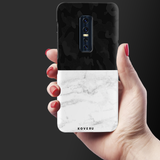 White Marble and Black Camouflage Pattern Cover Case for Vivo V17 Pro