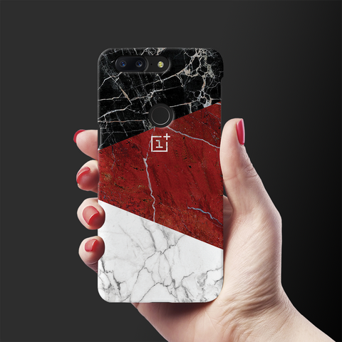Red Geometric Marble Cover Case For OnePlus 5T