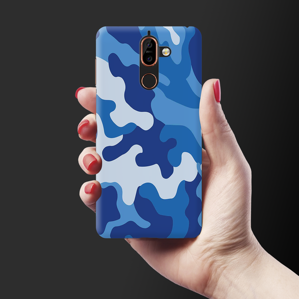 Blue Abstract Camouflage Cover Case For Nokia 7 Plus