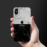Grey & Black Marble Cover Case For iPhone X