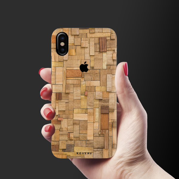 Square Wood Texture Back Cover Case for iPhone XS