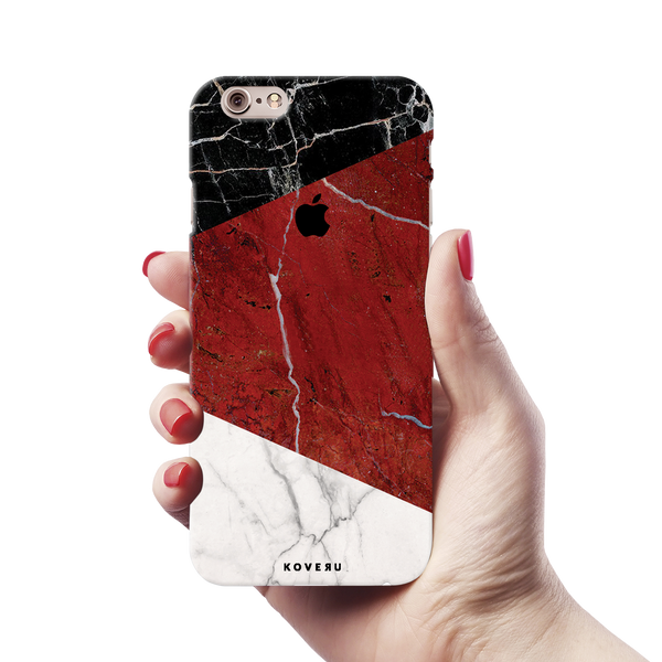 Red Geometric Marble Cover Case For iPhone 6/6S
