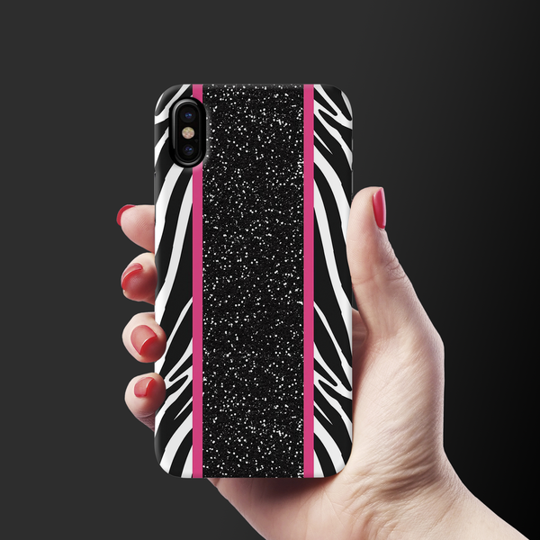 White Zebra Pattern Cover Case for iPhone X