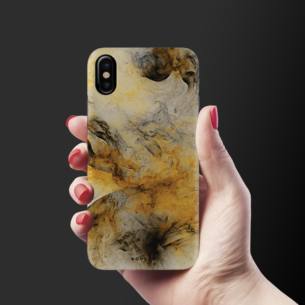 Yellow and Black Marble Cover Case for iPhone X/XS