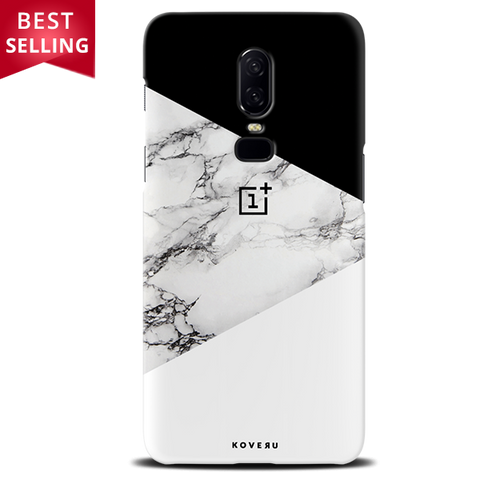 Geometric White Marble Textured Cover Case For OnePlus 6